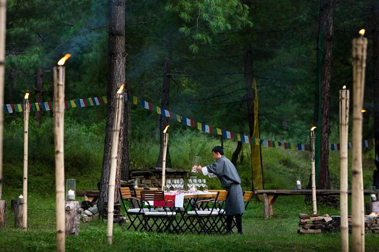 Uma Paro - Archery Field Group Dining With Staff - Bhutan